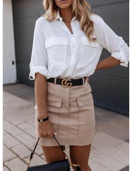 Falda antelina cinturón