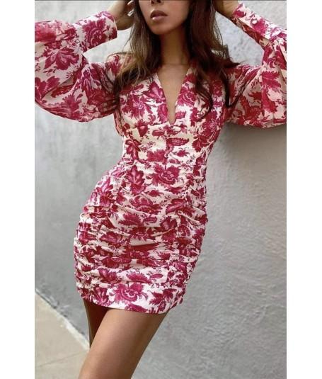 Vestido fruncido falda flores
