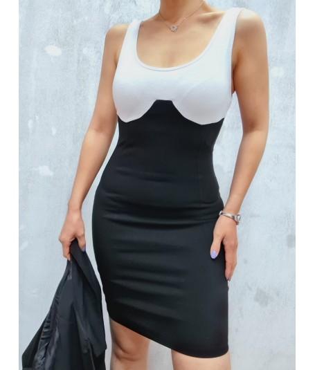 Vestido bengalina cuello...