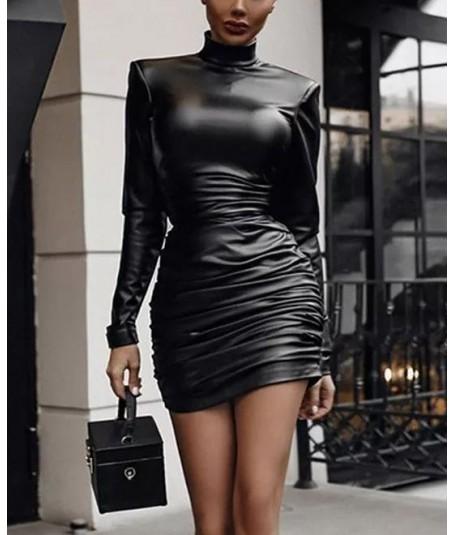 Vestido polipiel fruncido