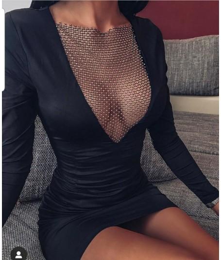 Vestido escote rejilla